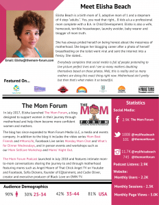 Media Kit for Elisha Beach of The Mom Forum